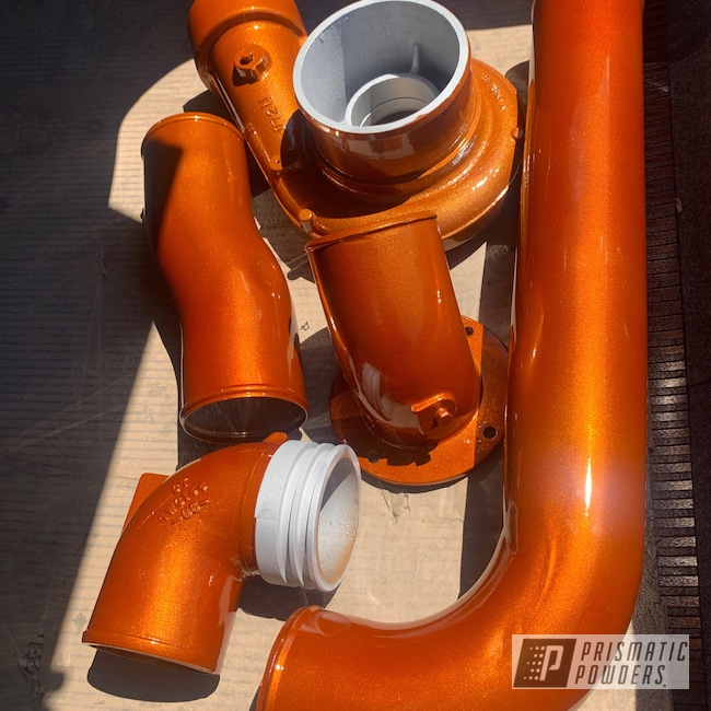 Powder Coating: Automotive,Turbo Parts,Clear Vision PPS-2974,Caterpillar,Illusion Tangerine Twist PMS-6964