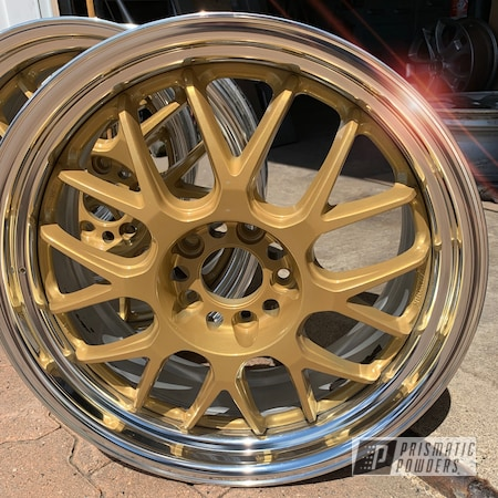 Powder Coating: Wheels,Goldtastic PMB-6625,Automotive,SUPER CHROME USS-4482,Two Tone,Aftermarket,Adams Gold PPB-6003