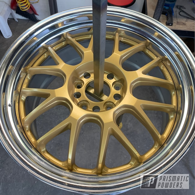 Powder Coating: Wheels,Goldtastic PMB-6625,Automotive,SUPER CHROME USS-4482,Two Tone,Aftermarket,Adams Gold PPB-6003