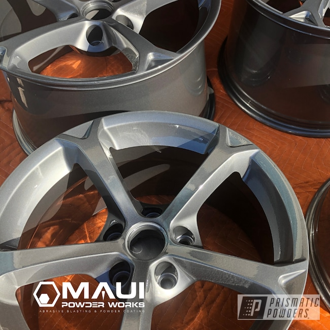 Powder Coating: Wheels,Automotive,Clear Vision PPS-2974,Rims,Stock OEM,Ultra Charcoal PMB-5531,Chevy,Corvette