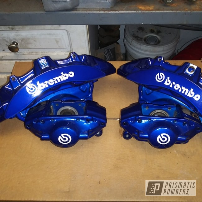 Powder Coating: Automotive,Cheater Blue PPB-6815,SUPER CHROME USS-4482,Brembo Calipers,Brembo,Brake Calipers