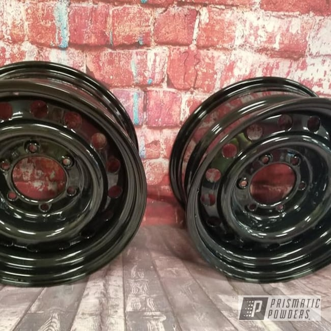 "Powder Coating: Wheels,Automotive,15"" Steel Wheels,Ink Black PSS-0106,15"" Wheels,Automotive Rims,Steel Rims"