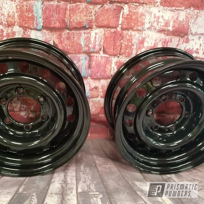 "Powder Coating: Wheels,Automotive,15"" Steel Wheels,Ink Black PSS-0106,15"" Wheels,Automotive Rims,Steel Rims"