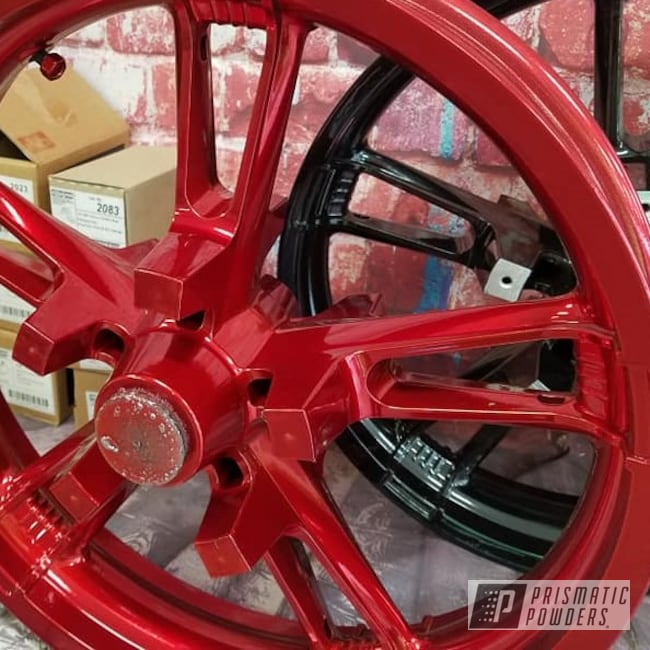 Powder Coating: Wheels,Automotive,Harley Davidson,Transparent Powder Coating,SUPER CHROME USS-4482,Two Stage Application,Motorcycle Rims,LOLLYPOP RED UPS-1506,Motorcycles