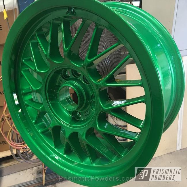 Powder Coating: Wheels,SUPER CHROME USS-4482,chrome,Psycho Green PPB-4658