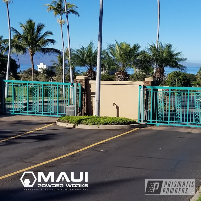 Powder Coating: Resort,Gates,Maui Blue PPB-5210,Driveway Gates,Commercial,RAL 6033 RAL-6033,architectural,Miscellaneous