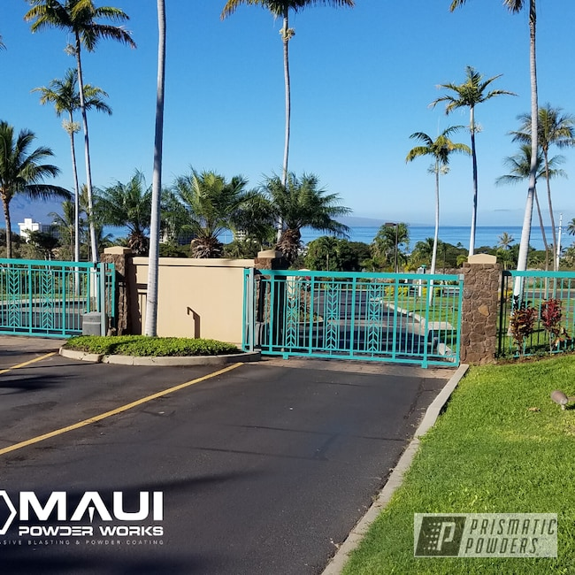 Powder Coating: Resort,Gates,Maui Blue PPB-5210,RAL 6033 Mint Turquoise,Driveway Gates,Commercial,architectural,Miscellaneous