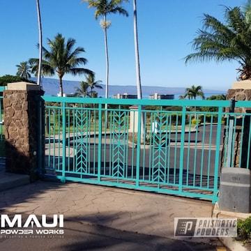 Powder Coated Turquoise Resort Driveway Gates