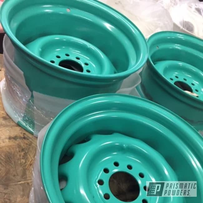 "Powder Coating: Wheels,Tropical Breeze PSS-6837,Automotive,15"" Steel Wheels,Custom Wheels,Custom Powder Coated Wheels"