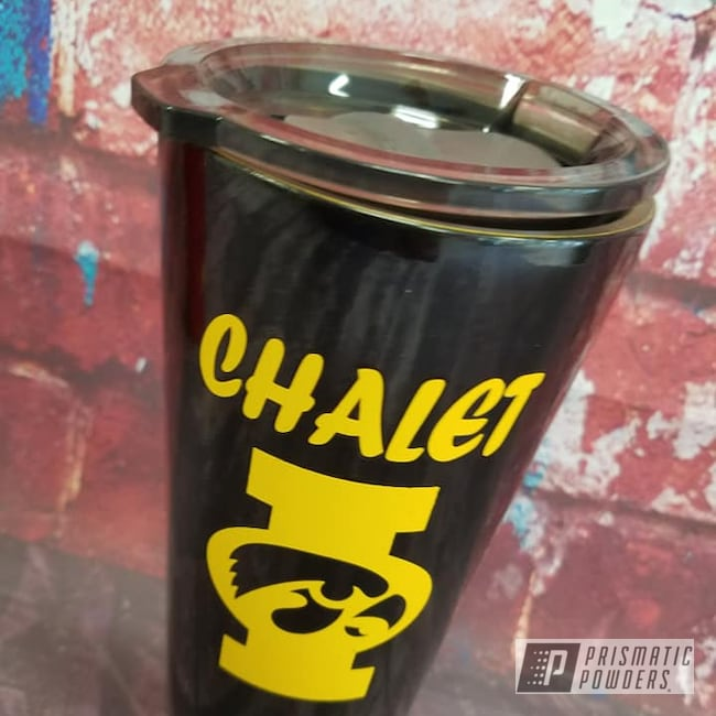 Powder Coating: Ink Black PSS-0106,Drinkware,RAL 1003 Signal Yellow,20oz Tumbler,Custom Tumbler