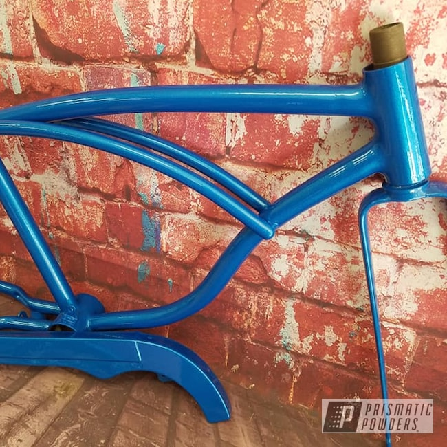 Powder Coating: Bicycles,Clear Vision PPS-2974,Illusion Lite Blue PMS-4621,Vintage Schwinn,Illusions,Bicycle Frame