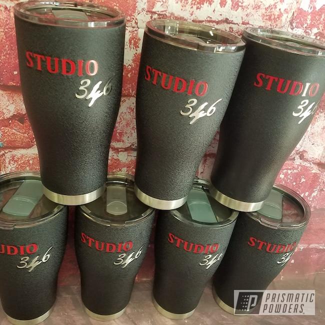 Powder Coating: Splatter Black PWS-4344,Tumbler,Drinkware,RAL 3002 Carmine Red,Textured,Custom Tumbler