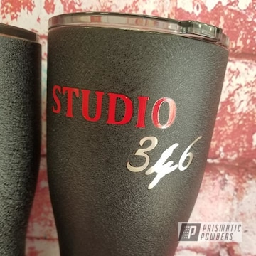 Powder Coated Black And Red Custom Tumblers