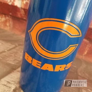 Powder Coated Blue And Orange Chicago Bears Themed Water Bottle