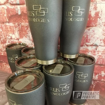 Powder Coated Dark Silver Custom 30oz Tumblers