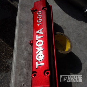 Powder Coated Red Toyota Valve Cover