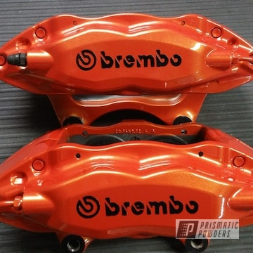 Powder Coated Orange Brembo Brake Calipers