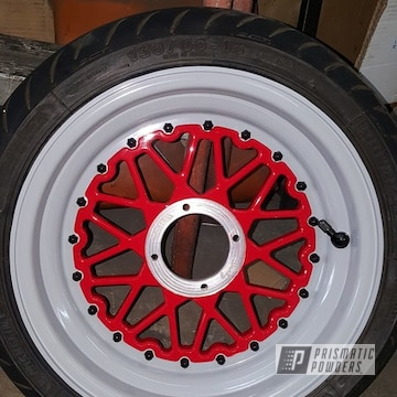 Powder Coated Red And White Motorcycle Rims