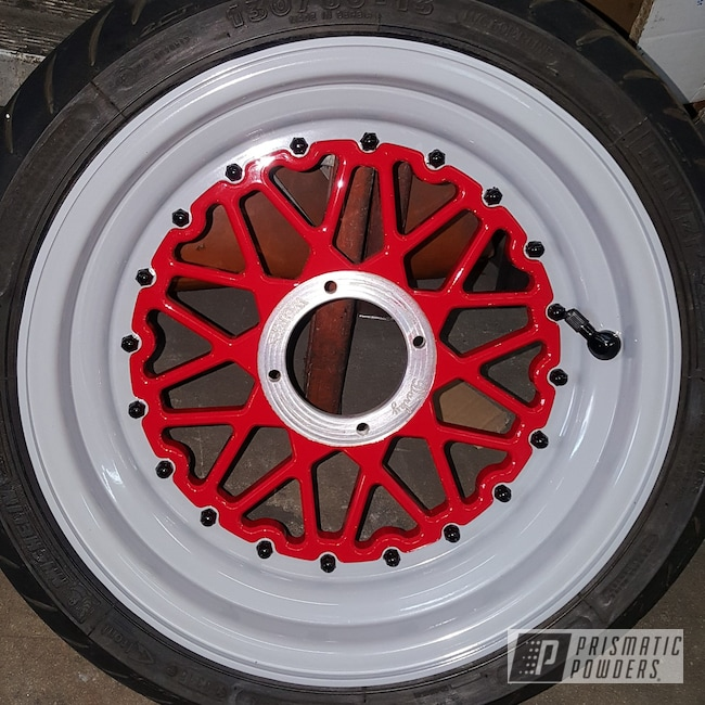 Powder Coating: Wheels,Automotive,2 Tone Rims,Motorcycle Rims,Ink Black PSS-0106,Motorcycles,Astatic Red PSS-1738,RAL 7042 Traffic Grey A