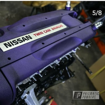 Powder Coated Purple Nissan Engine Parts