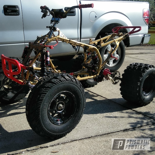 Powder Coating: Racer Red PSS-5649,ATV Frame,TRX450R,Clear Vision PPS-2974,Ink Black PSS-0106,Honda,Race Quad,Illusion Cherry PMB-6905,ATV Parts,Satin Poly Gold PMB-6487