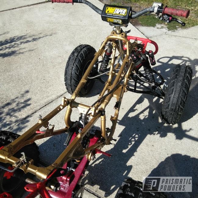 Powder Coating: Racer Red PSS-5649,ATV Frame,TRX450R,Clear Vision PPS-2974,Ink Black PSS-0106,Honda,Race Quad,Illusion Cherry PMB-6905,ATV Parts,Satin Poly Gold PMB-6487