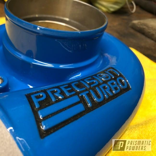 Powder Coating: Automotive,Turbo Housing,Kingsport Grey PMB-5027,Playboy Blue PSS-1715,Precision turbo