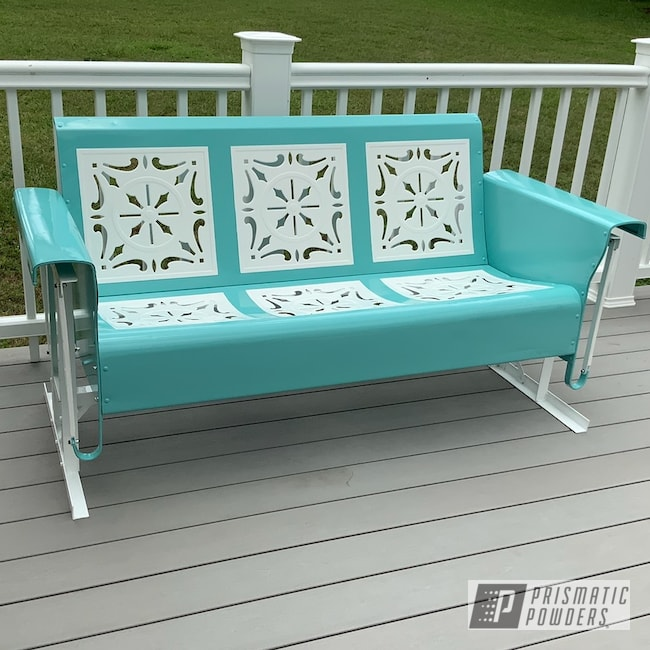 Powder Coating: Patio Furniture,Two Tone,Gloss White PSS-5690,Vintage Glider,RAL 6027 Light Green,Furniture
