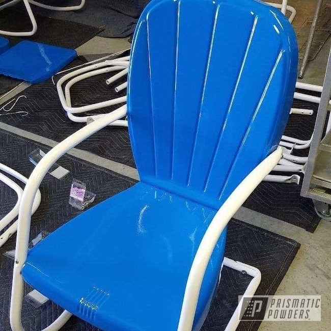 Powder Coating: Chairs,Patio Furniture,Playboy Blue PSS-1715,Vintage Lawn Furniture,Gloss White PSS-5690,Furniture