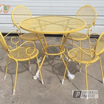 Powder Coated Yellow Metal Patio Furniture