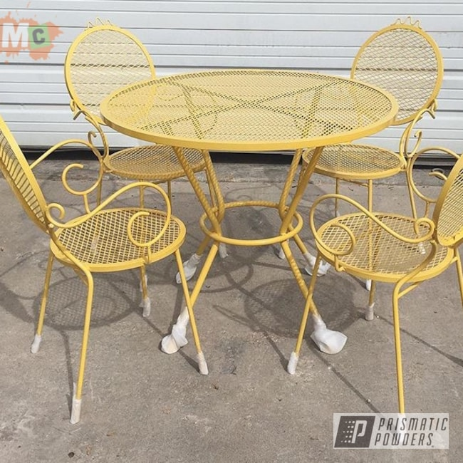 Powder Coating: Chairs,Patio Furniture,Table,Vintage Yellow PSB-6879,Restored,Furniture