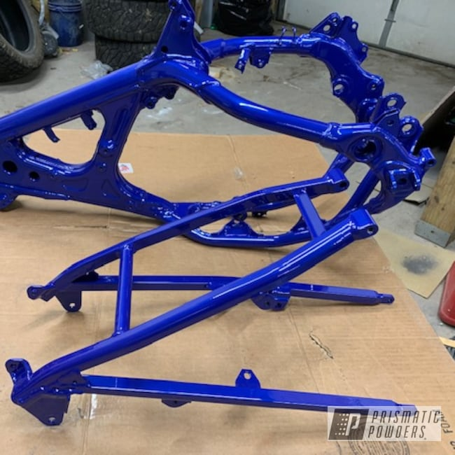 Powder Coating: Clear Vision PPS-2974,Motorcycle Frame,Yamaha,MOZ'S BLUE PMB-2642,Motorcycles,Dirt Bike Frame,Yamaha Blue