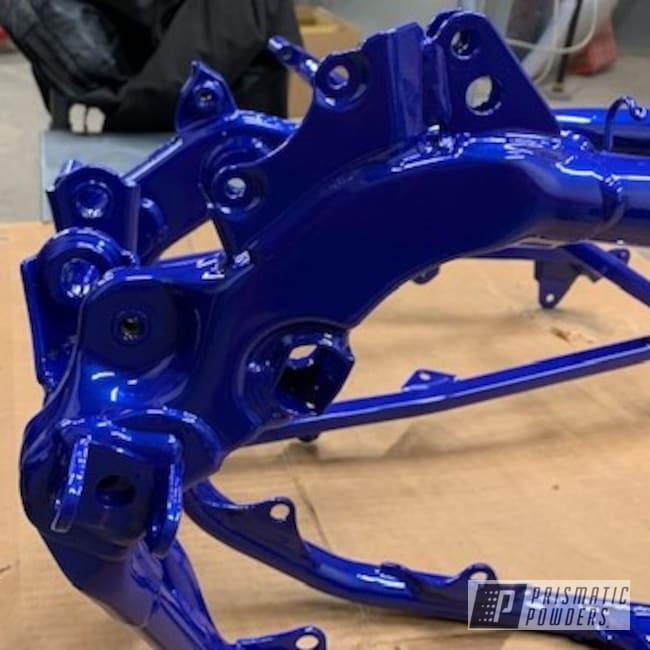 Powder Coating: Clear Vision PPS-2974,Motorcycle Frame,Yamaha,MOZ'S BLUE PMB-2642,Motorcycles,Dirt Bike Frame,Yamaha Blue