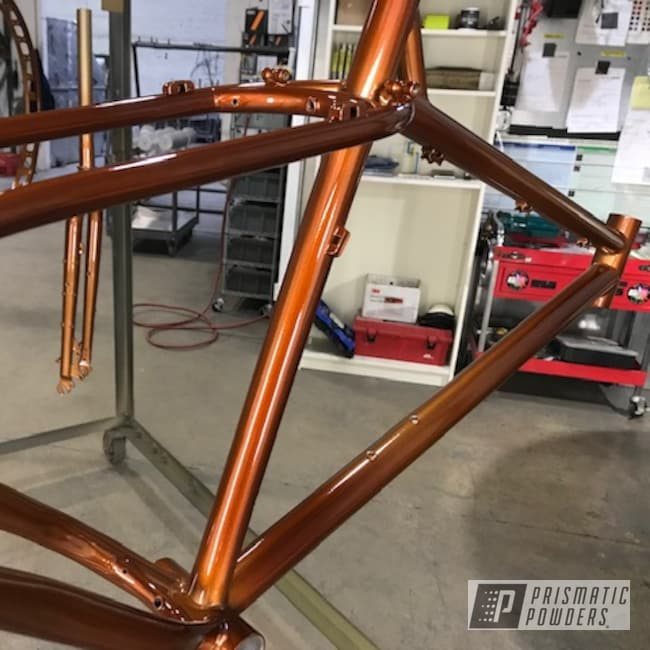 Powder Coating: Custom,Bike Frame,powder coating,Metallic Powder Coating,Prismatic Gold HMB-4137,Bicycles,Transparent Copper PPS-5162,Bicycle Parts,Two Coat Application,Two Tone,Bicycle,Bicycle Frame,Layered Colors
