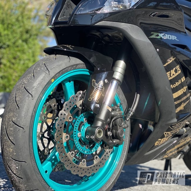 Powder Coating: Wheels,Automotive,Kawasaki,JAMAICAN TEAL UPB-2043,Motorcycle Rims,Kawasaki Motorcycle,Powder Coated Kawasaki ZX-10 Wheel,Motorcycles,Alien Silver PMS-2569