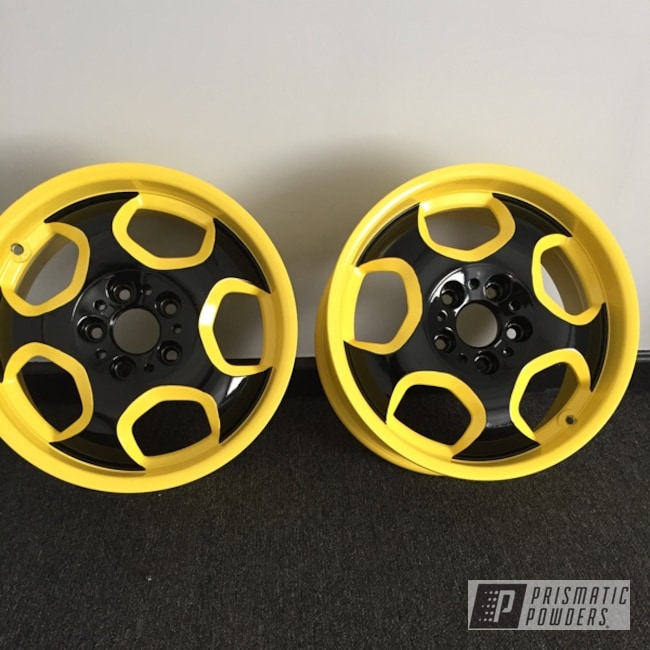 "Powder Coating: Wheels,Automotive,18"",18"" Wheels,RAL 1018 Zinc Yellow,Two Tone"