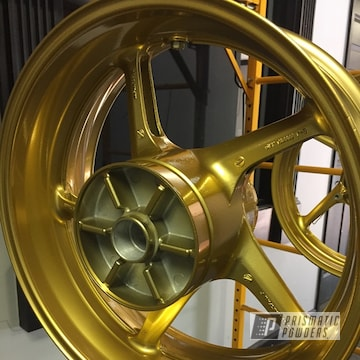 Powder Coated Gold Custom Motorcycle Rims