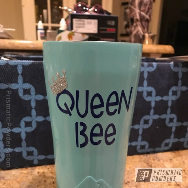 Powder Coating: Sea Foam Green PSS-4063,Tumbler,Queen Bee Tumbler,Single Stage Application,Personalized,Custom Cup,Miscellaneous