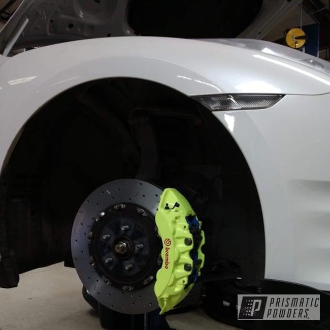 Powder Coating: Automotive,Brembo Calipers,Brake Calipers,Neon Yellow PSS-1104,Automotive Parts