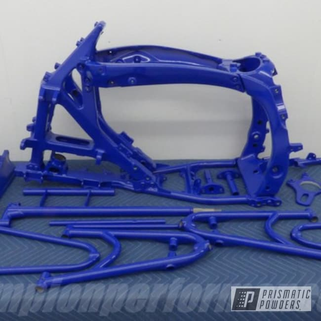 Powder Coated Blue Yamaha Atv Frame And Parts