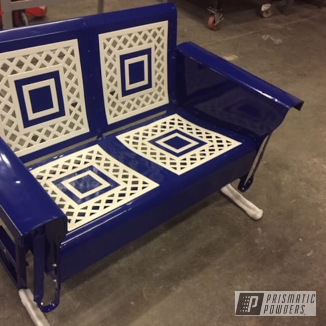 Powder Coating: Custom,Antique,Custom Furniture,Pearl White PMB-4364,Stanton Blue PSB-2004,Glider,Restored,Custom Outdoor Patio Furniture,Furniture