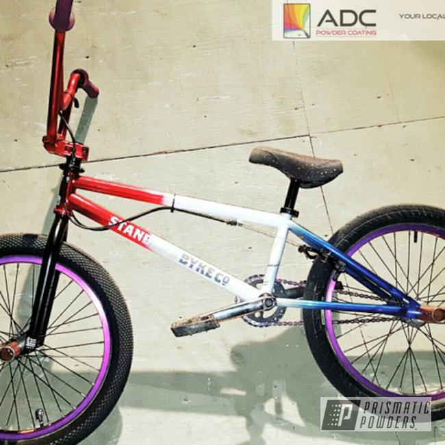 Powder Coating: Bicycles,Color Fade,BMX Bike,LOLLYPOP RED UPS-1506,LOLLYPOP BLUE UPS-2502,Polar White PSS-5053,Custom Powder Coated Bike Frame