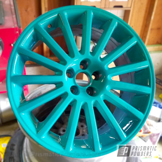 Powder Coating: Wheels,Automotive,JAMAICAN TEAL UPB-2043,VW Aristo,VW