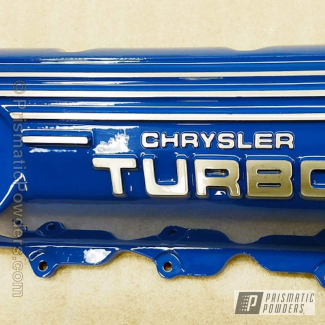 Powder Coating: Automotive,Clear Vision PPS-2974,RAL 5019 Capri Blue,Engine Components,Chrysler Turbo,Chrysler,Engine Cover