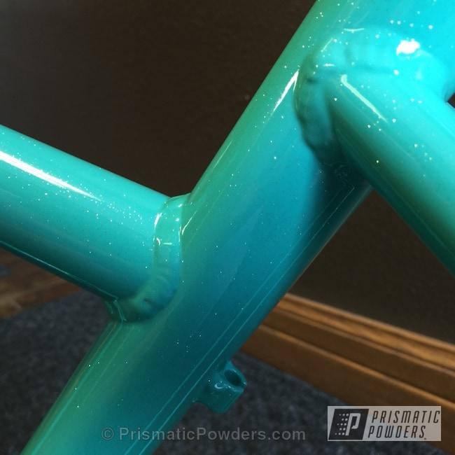 Powder Coating: Tropical Breeze PSS-6837,Bicycles,Bike Frame,Custom Powder Coating,Baby Rockstar Sparkle PPB-6627