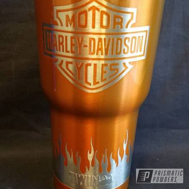 Powder Coating: Lollypop Tangelo PPS-2291,Single Powder Application,Harley Davidson Theme,Custom Cup,Miscellaneous
