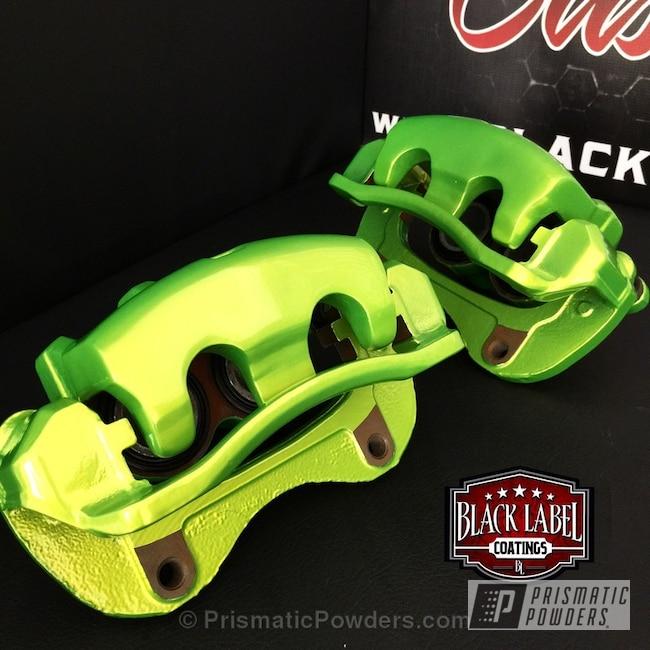 Powder Coating: Automotive,OEM Brake Calipers,Glowing Yellow PPB-4759,Shaved Calipers