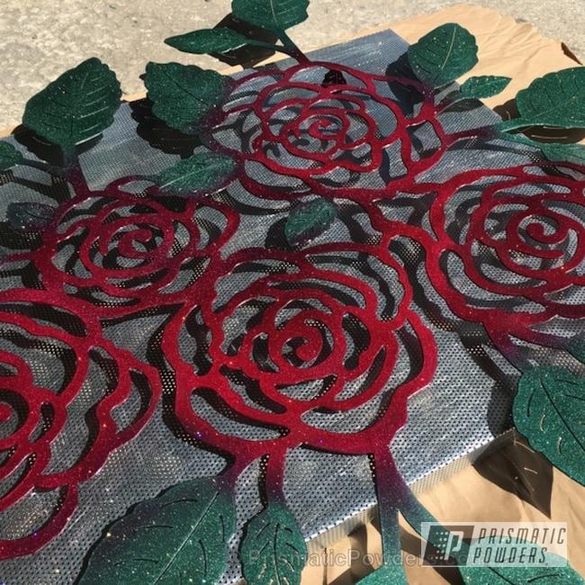 Powder Coating: Silver Sparkle PPB-4727,Illusion Green PMS-4516,Decorative Art,Illusion Cherry PMB-6905,Art,Roses,Miscellaneous