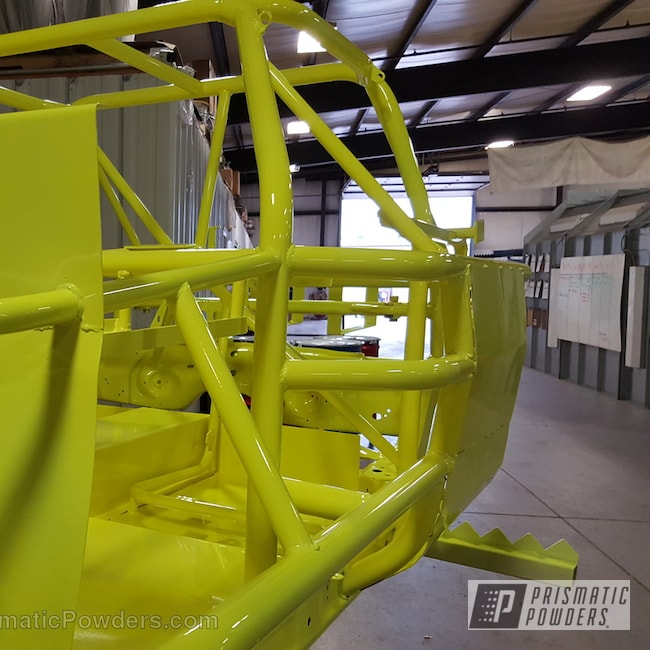 Powder Coating: Automotive,Clear Vision PPS-2974,Car Frame,Neon Yellow PSS-1104,Stock Car Frame