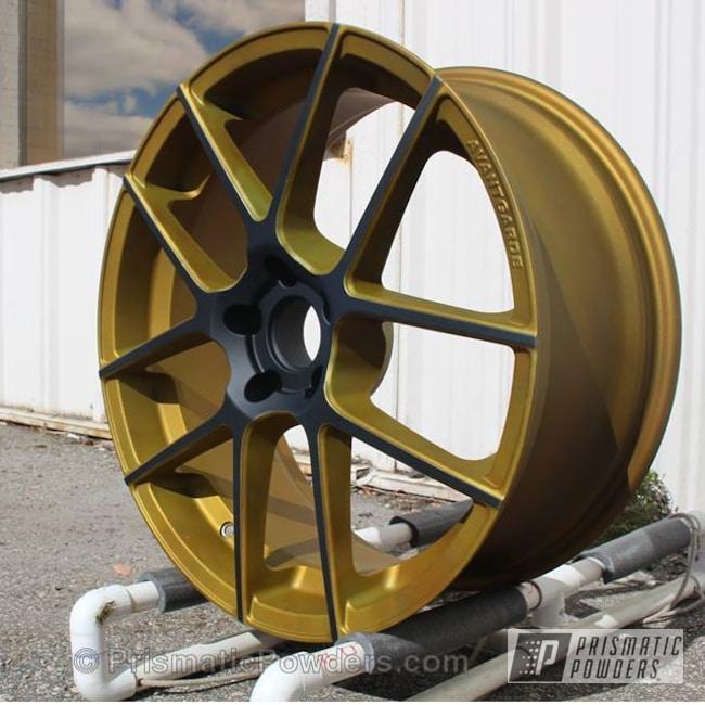 Powder Coating: Wheels,Automotive,Illusion Dorado PMB-6921,Ink Black PSS-0106,Casper Clear PPS-4005